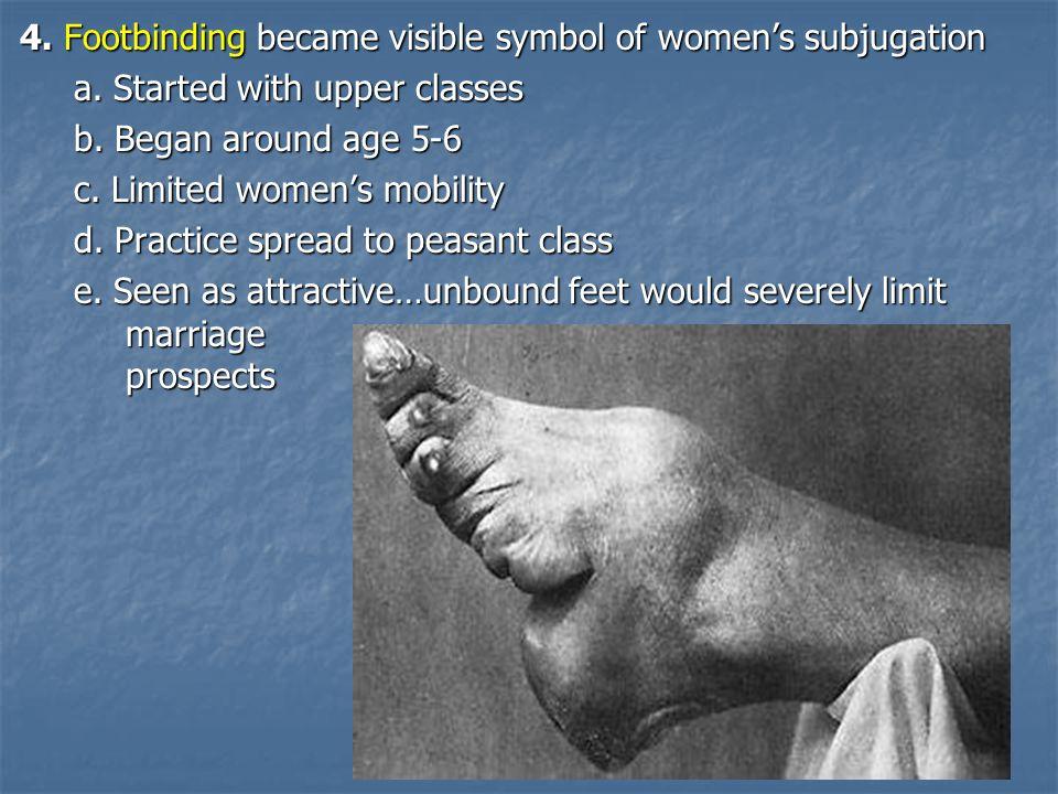 4.Footbinding became visible symbol of women's subjugation a.