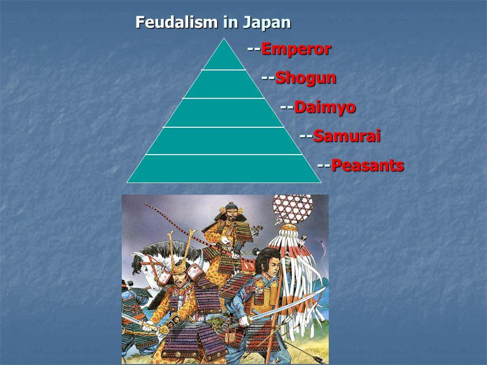 Feudalism in Japan --Emperor --Emperor --Shogun --Shogun --Daimyo --Daimyo --Samurai --Samurai --Peasants --Peasants