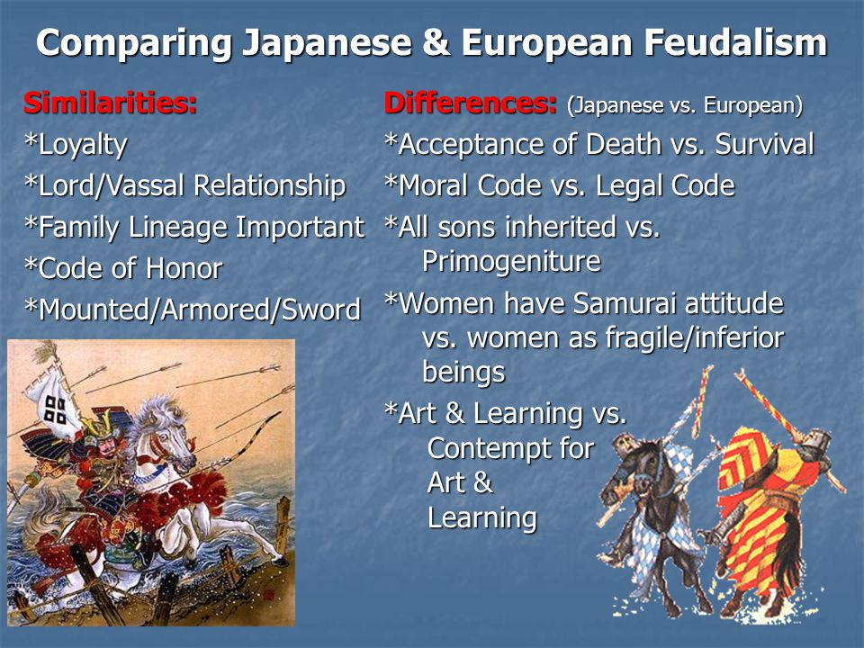 Comparing Japanese & European Feudalism Similarities:*Loyalty *Lord/Vassal Relationship *Family Lineage Important *Code of Honor *Mounted/Armored/Swor
