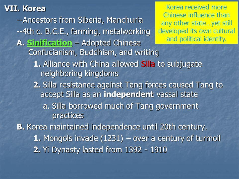 VII.Korea --Ancestors from Siberia, Manchuria --4th c.
