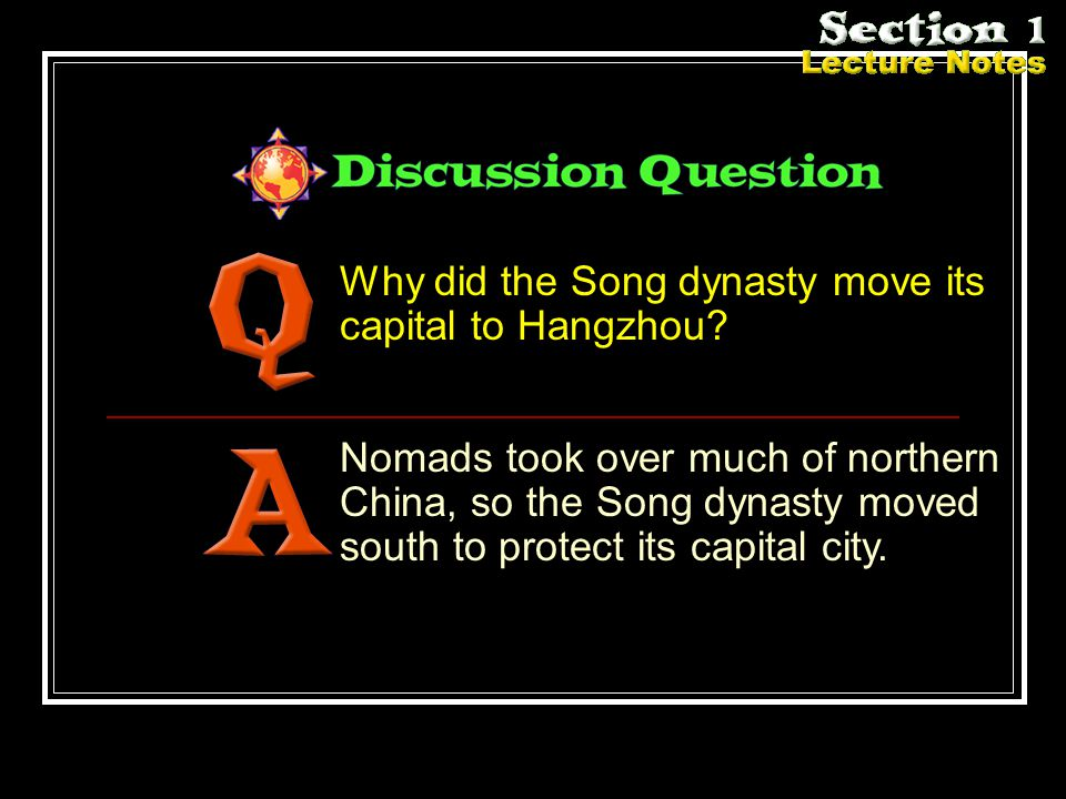 Why did the Song dynasty move its capital to Hangzhou.