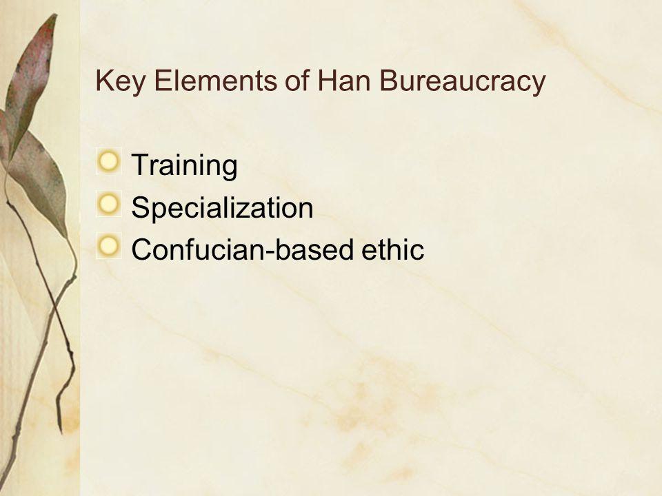 Key Elements of Han Bureaucracy Training Specialization Confucian-based ethic