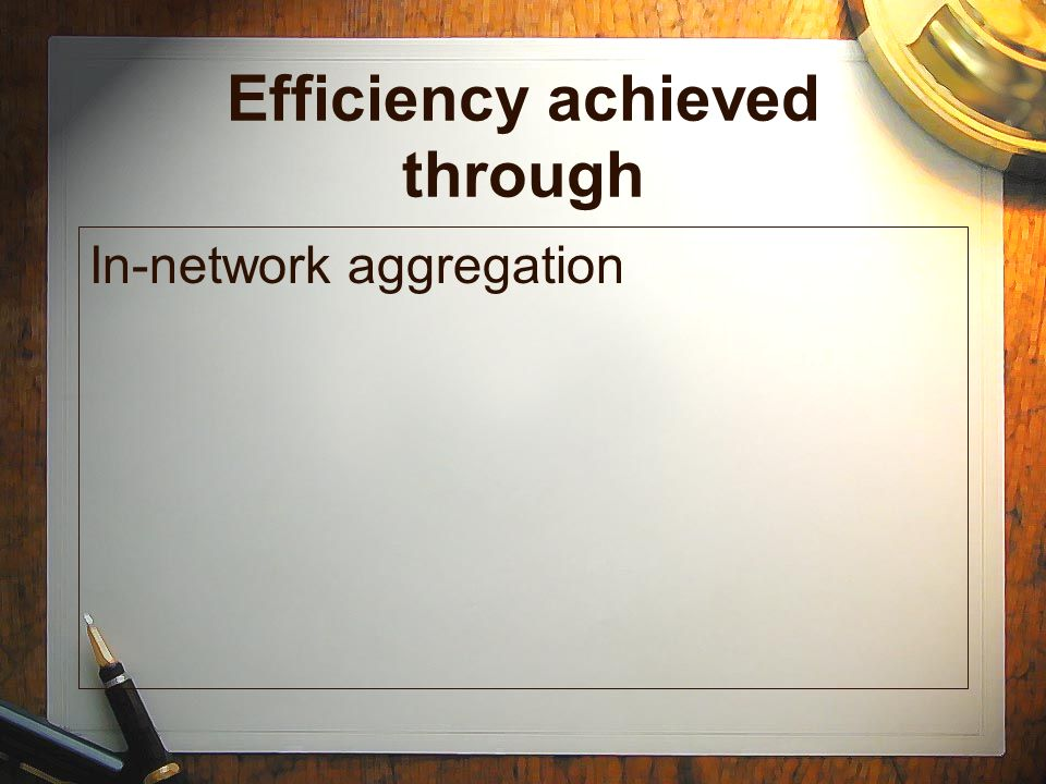 Efficiency achieved through In-network aggregation