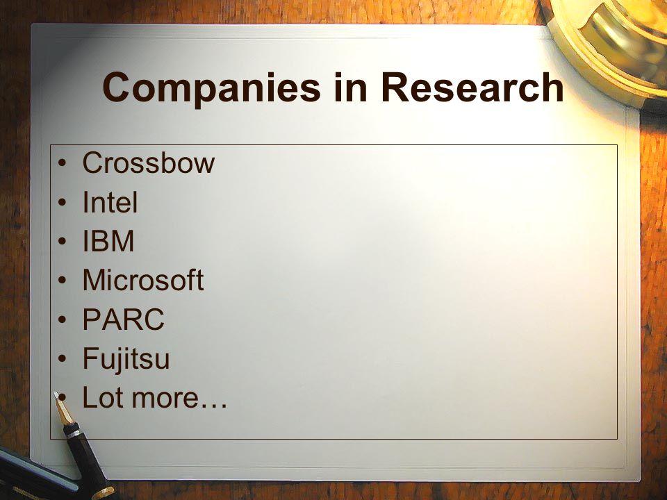 Companies in Research Crossbow Intel IBM Microsoft PARC Fujitsu Lot more…