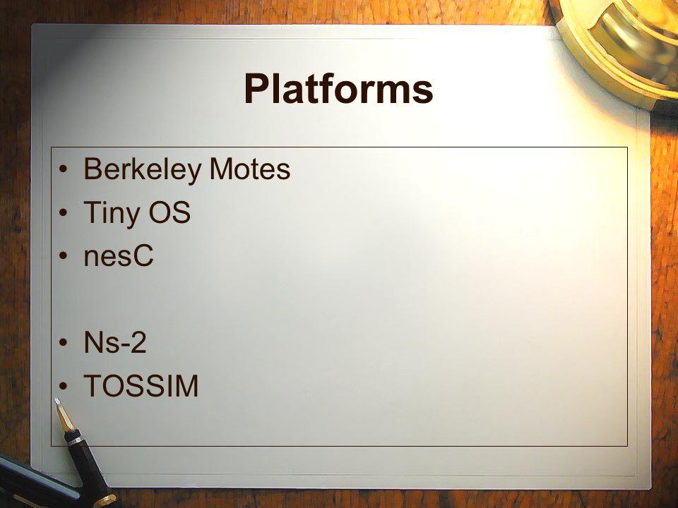 Platforms Berkeley Motes Tiny OS nesC Ns-2 TOSSIM