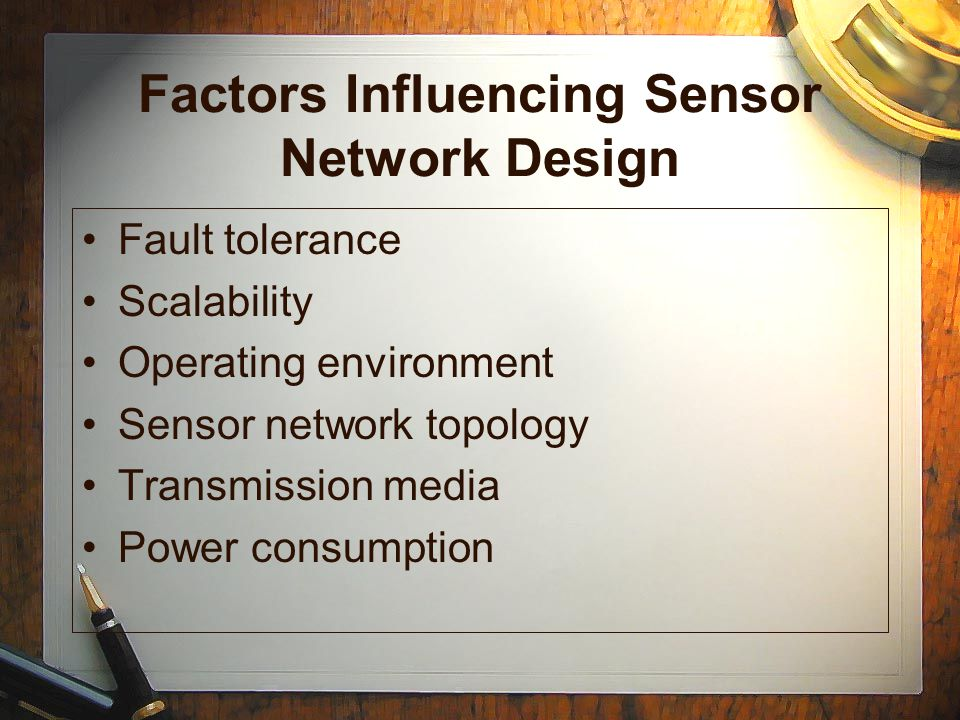 Sensors Representation Communication Graph –Sensors are nodes –Link between the sensors are the edges
