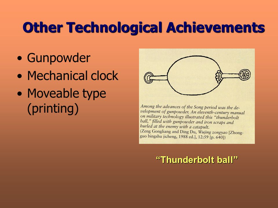 Other Technological Achievements Gunpowder Mechanical clock Moveable type (printing) Thunderbolt ball