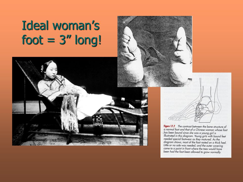 "Ideal woman's foot = 3"" long!"