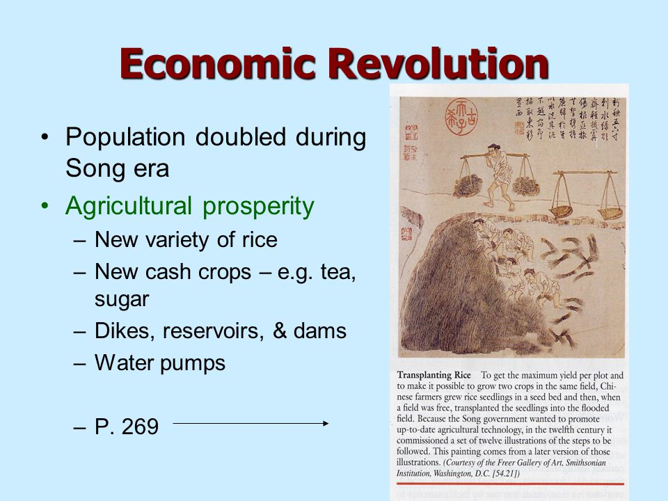 Economic Revolution Population doubled during Song era Agricultural prosperity –New variety of rice –New cash crops – e.g.