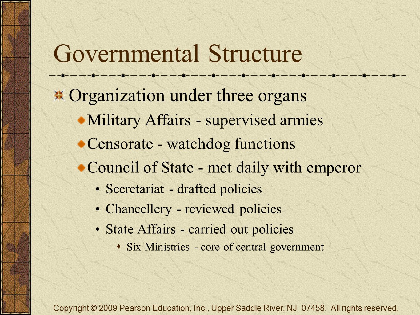 Governmental Structure Organization under three organs Military Affairs - supervised armies Censorate - watchdog functions Council of State - met dail