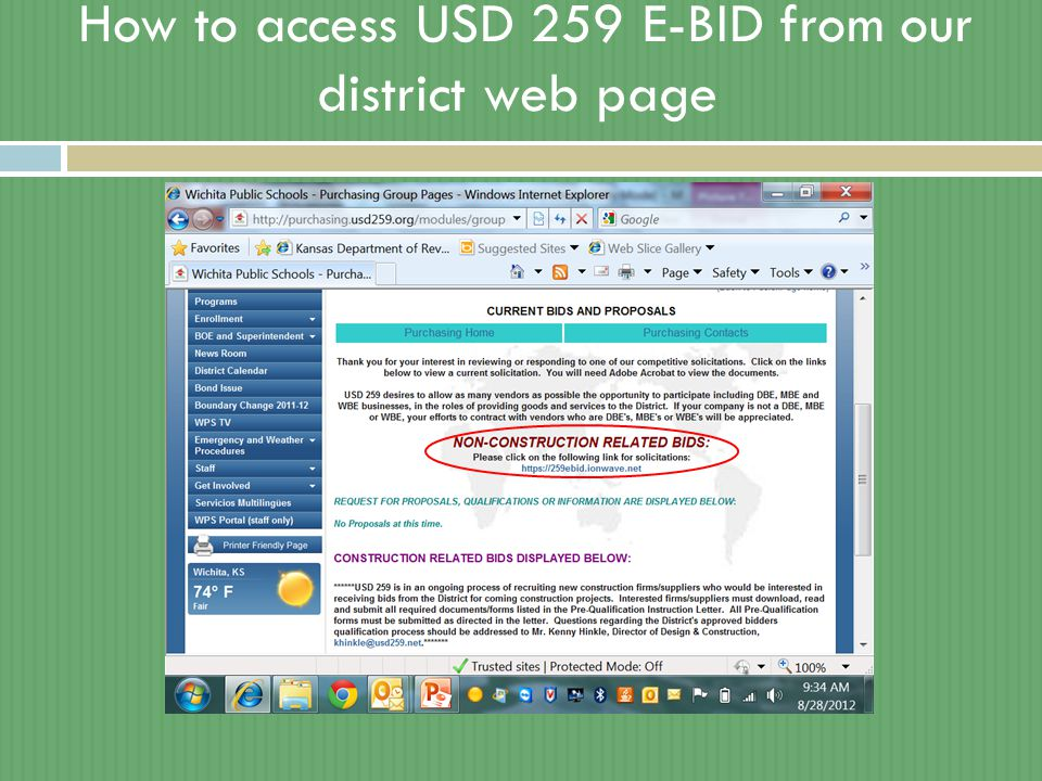 How to access USD 259 E-BID from our district web page