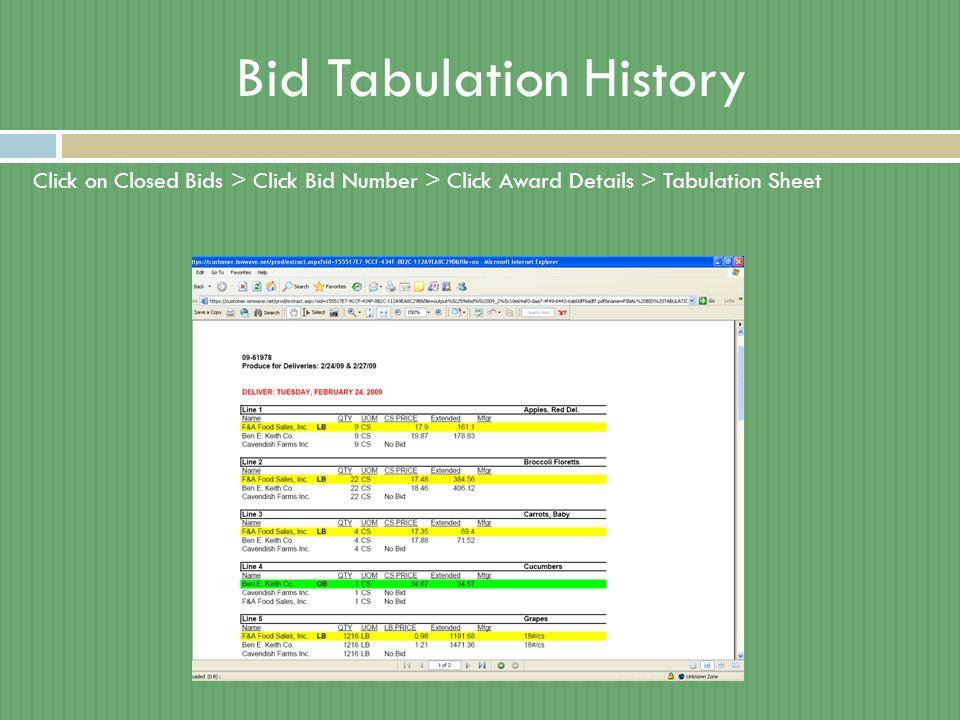 Bid Tabulation History Click on Closed Bids > Click Bid Number > Click Award Details > Tabulation Sheet