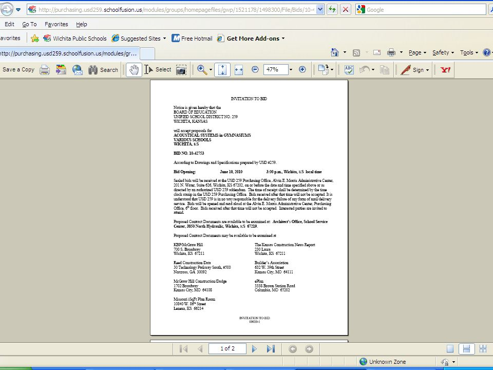 Get a Printable Document of Construction Solicitations