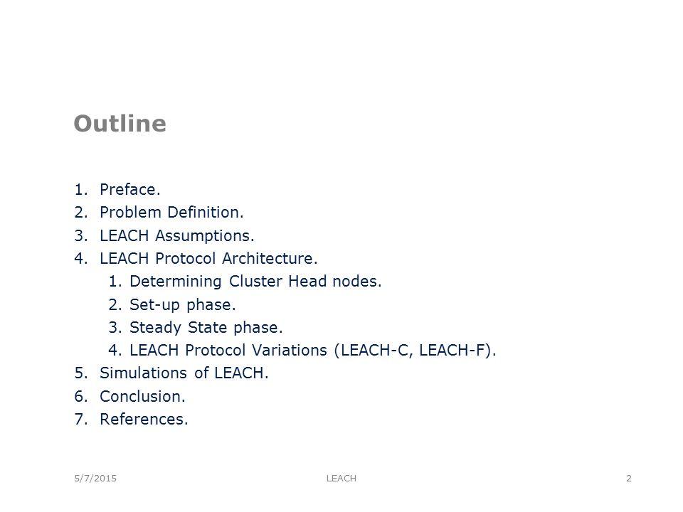 5/7/2015 Outline 1.Preface. 2.Problem Definition.
