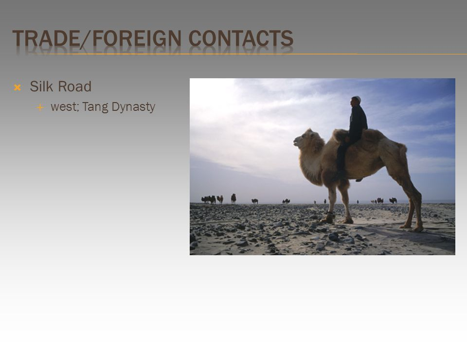  The Tang Dynasty World View: / The Song Dynasty World View: / looks east towards the sea / west along the Silk Road / Silk Road – trading network with the west.