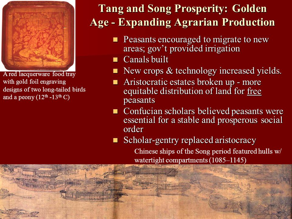 Tang and Song Prosperity: Golden Age - Expanding Agrarian Production Peasants encouraged to migrate to new areas; gov't provided irrigation Peasants encouraged to migrate to new areas; gov't provided irrigation Canals built Canals built New crops & technology increased yields.