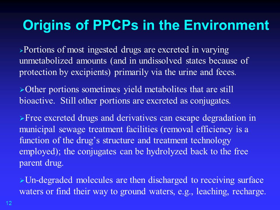 Origins of PPCPs in the Environment   Portions of most ingested drugs are excreted in varying unmetabolized amounts (and in undissolved states becau