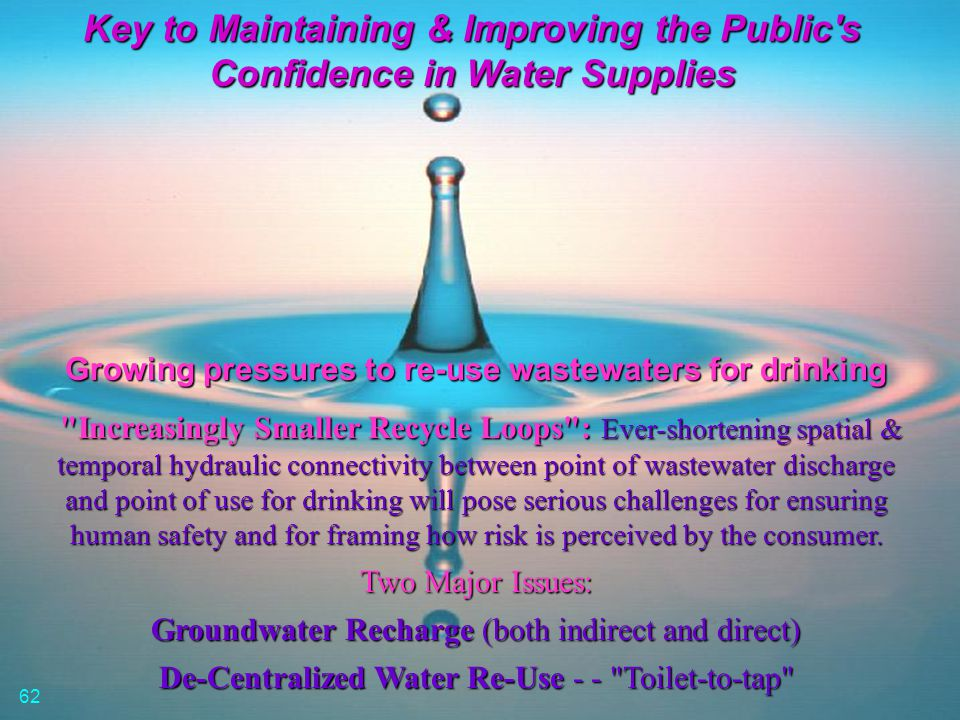 Key to Maintaining & Improving the Public's Confidence in Water Supplies Growing pressures to re-use wastewaters for drinking