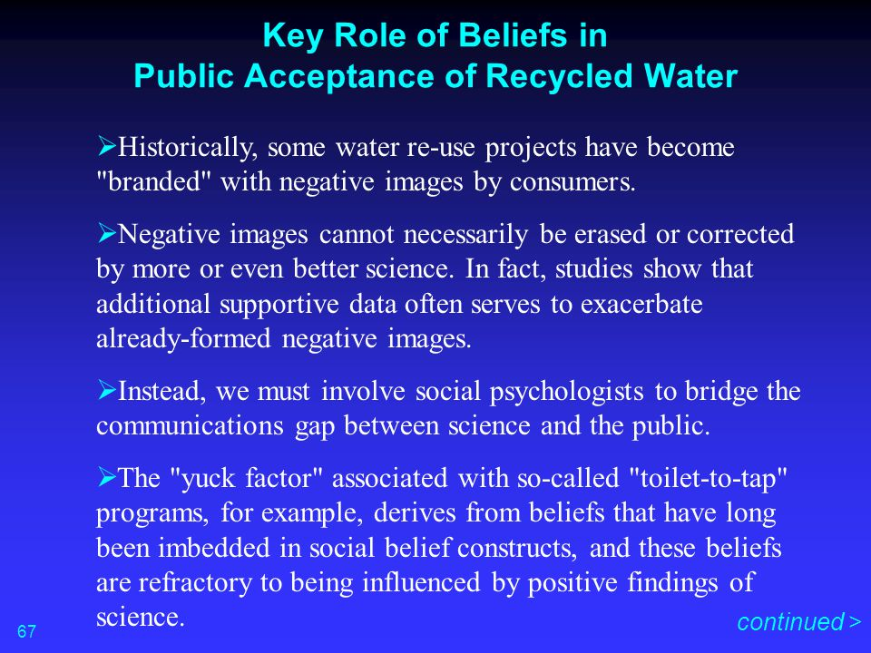 Key Role of Beliefs in Public Acceptance of Recycled Water  Historically, some water re-use projects have become