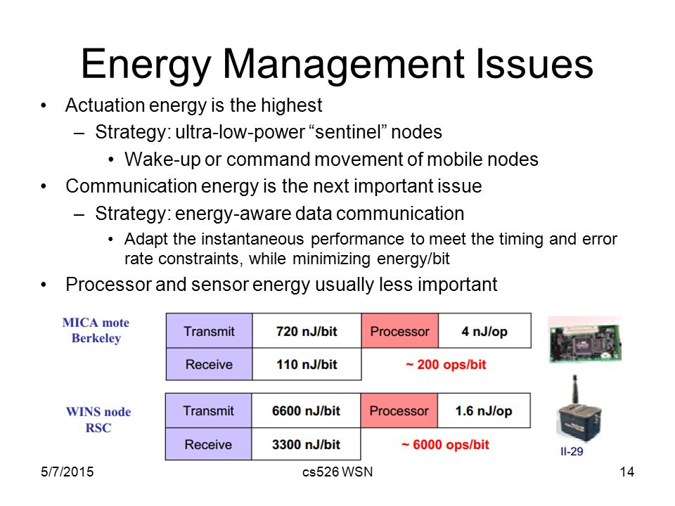 "Energy Management Issues Actuation energy is the highest –Strategy: ultra-low-power ""sentinel"" nodes Wake-up or command movement of mobile nodes Commu"