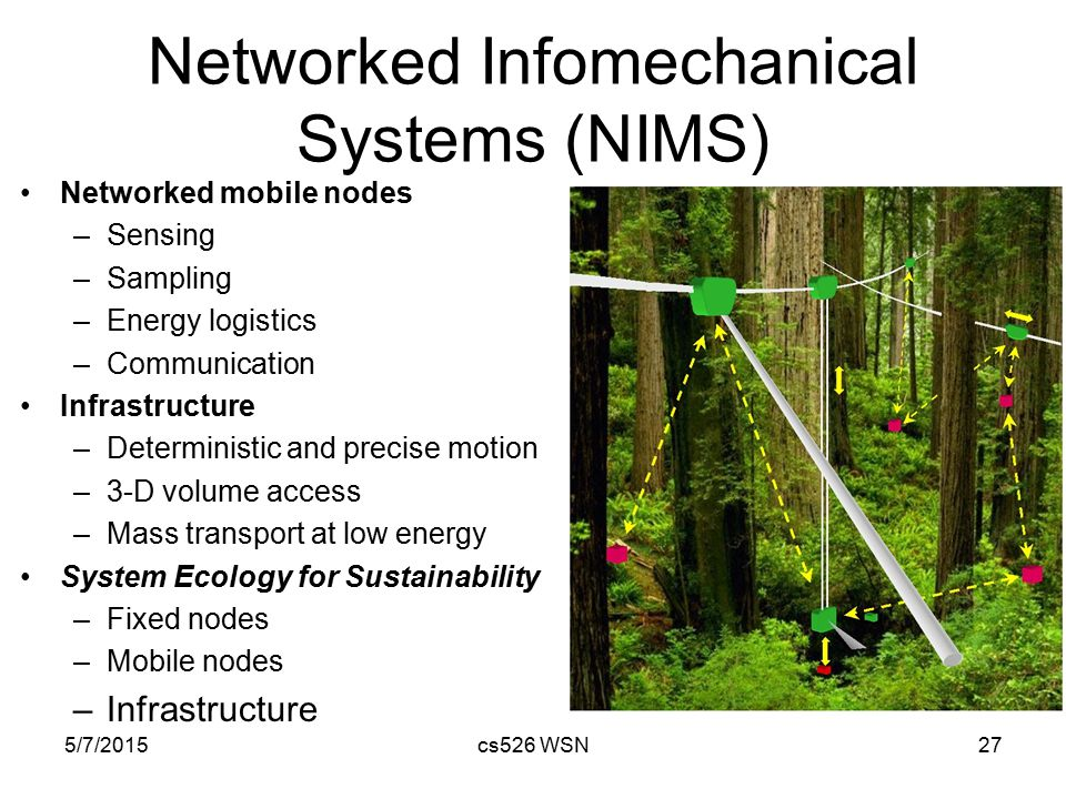 5/7/2015cs526 WSN27 Networked Infomechanical Systems (NIMS) Networked mobile nodes –Sensing –Sampling –Energy logistics –Communication Infrastructure