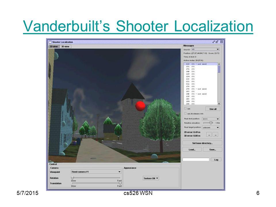 5/7/2015cs526 WSN6 Vanderbuilt's Shooter Localization