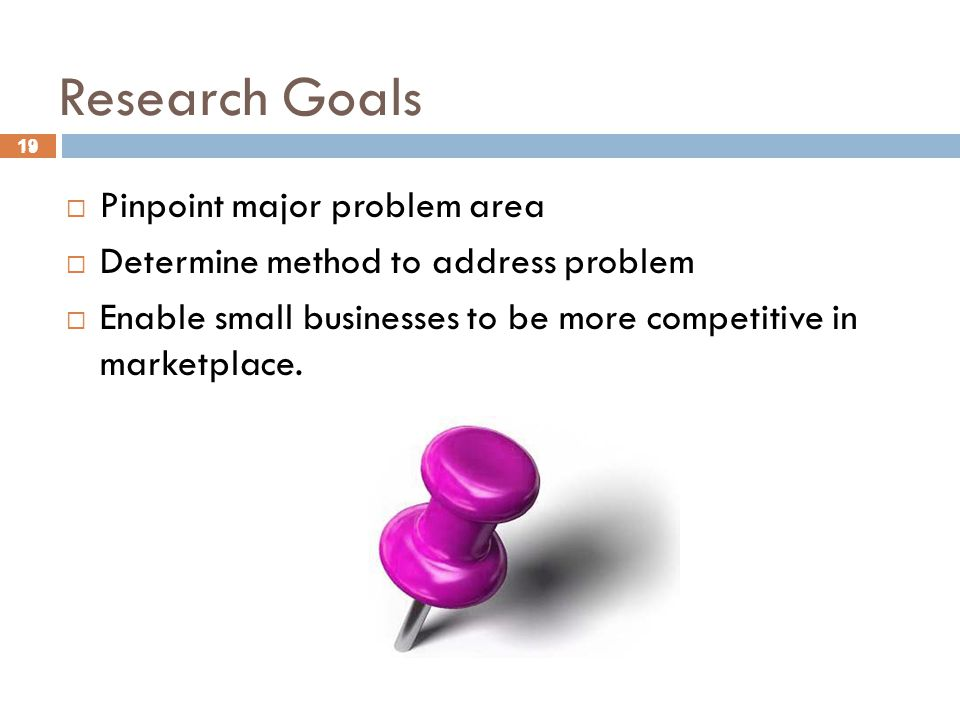 19 Research Goals 19  Pinpoint major problem area  Determine method to address problem  Enable small businesses to be more competitive in marketplace.