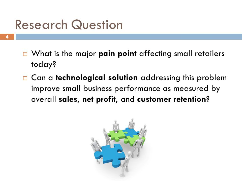 4 Research Question 4  What is the major pain point affecting small retailers today?  Can a technological solution addressing this problem improve s