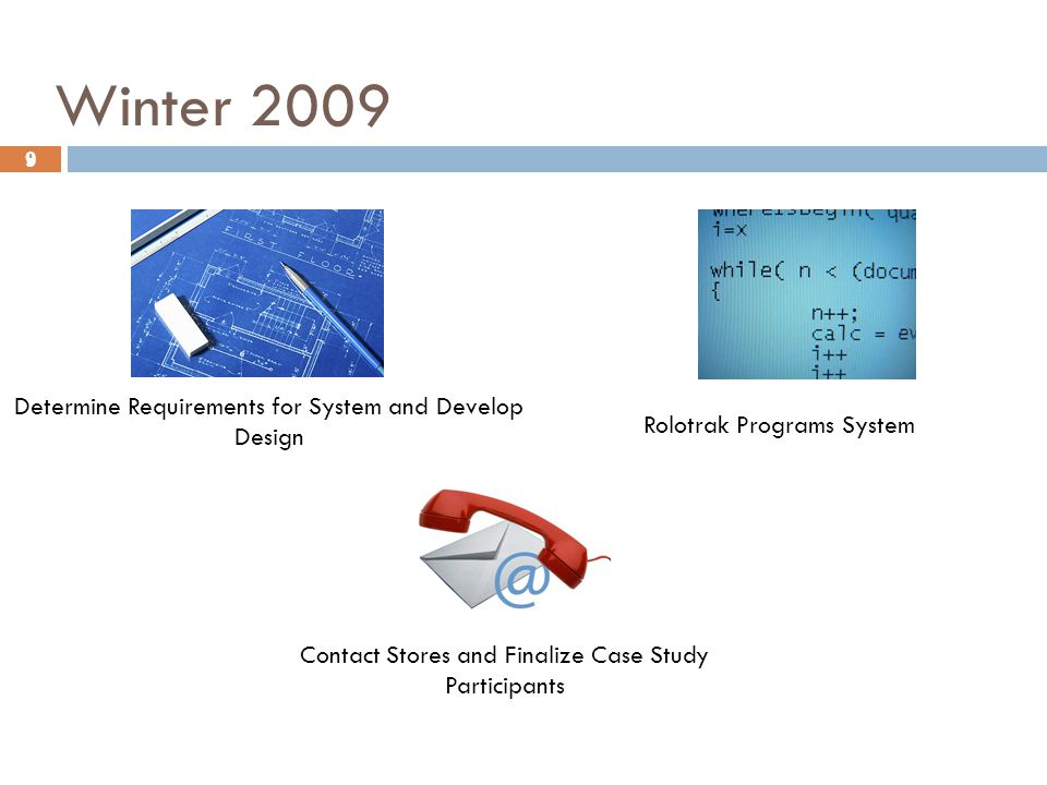 9 Winter 2009 9 Determine Requirements for System and Develop Design Rolotrak Programs System Contact Stores and Finalize Case Study Participants