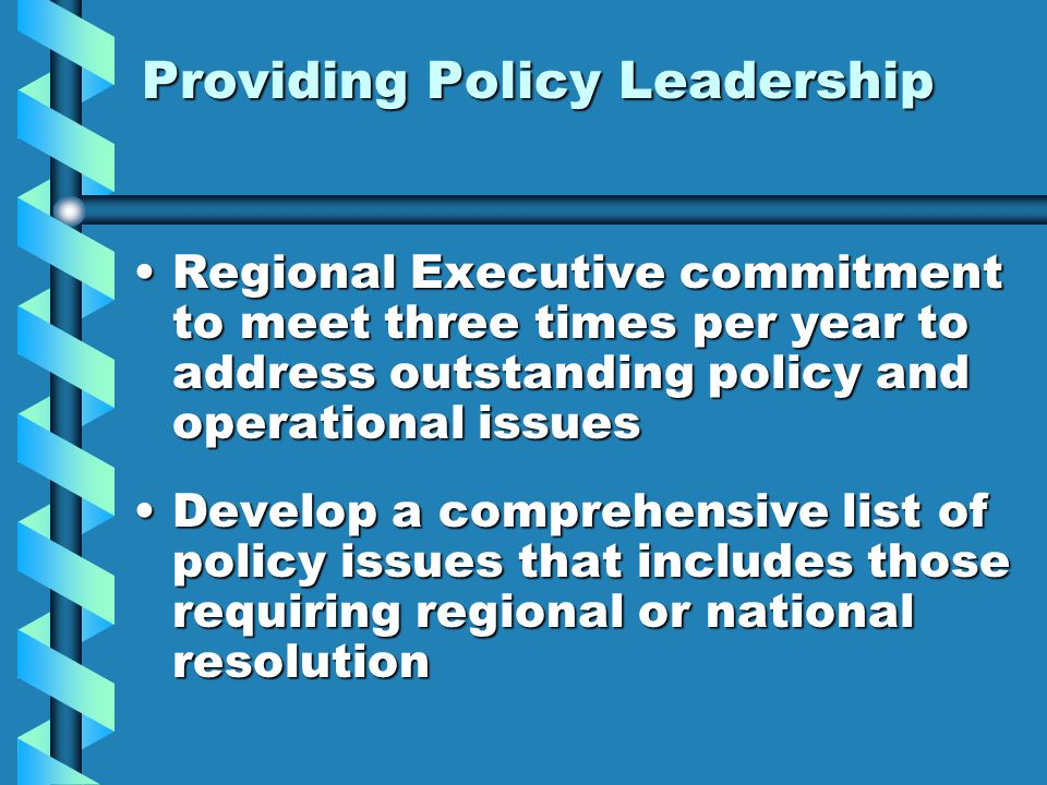 Providing Policy Leadership Regional Executive commitment to meet three times per year to address outstanding policy and operational issuesRegional Executive commitment to meet three times per year to address outstanding policy and operational issues Develop a comprehensive list of policy issues that includes those requiring regional or national resolutionDevelop a comprehensive list of policy issues that includes those requiring regional or national resolution
