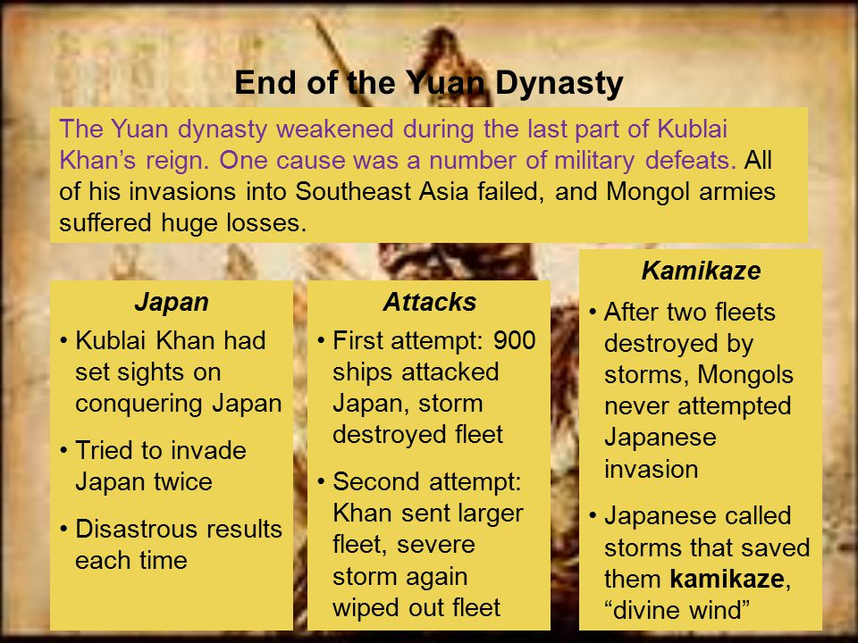 The Yuan dynasty weakened during the last part of Kublai Khan's reign. One cause was a number of military defeats. All of his invasions into Southeast