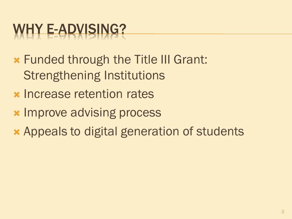  Funded through the Title III Grant: Strengthening Institutions  Increase retention rates  Improve advising process  Appeals to digital generation of students 3