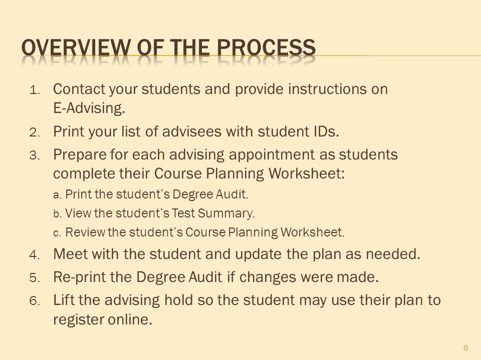 1. Contact your students and provide instructions on E-Advising.