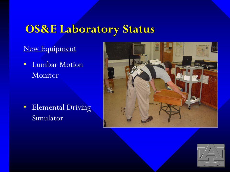 OS&E Laboratory Status New Equipment Lumbar Motion Monitor Elemental Driving Simulator