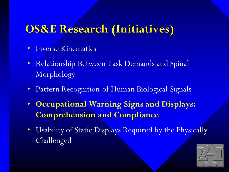 OS&E Research (Initiatives) Inverse Kinematics Relationship Between Task Demands and Spinal Morphology Pattern Recognition of Human Biological Signals Occupational Warning Signs and Displays: Comprehension and Compliance Usability of Static Displays Required by the Physically Challenged