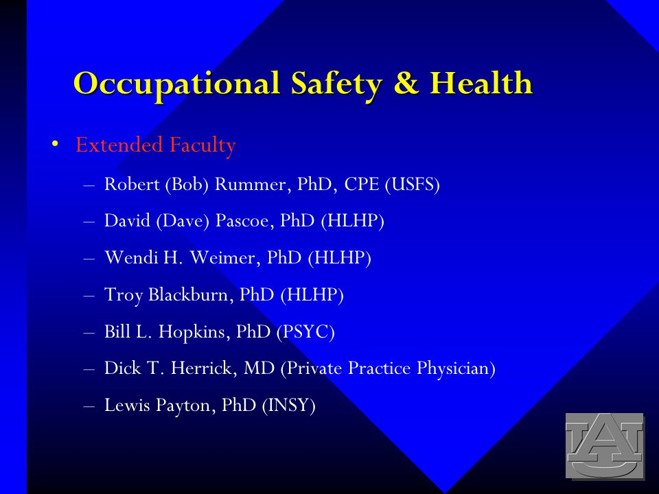 Occupational Safety & Health Extended Faculty –Robert (Bob) Rummer, PhD, CPE (USFS) –David (Dave) Pascoe, PhD (HLHP) –Wendi H.