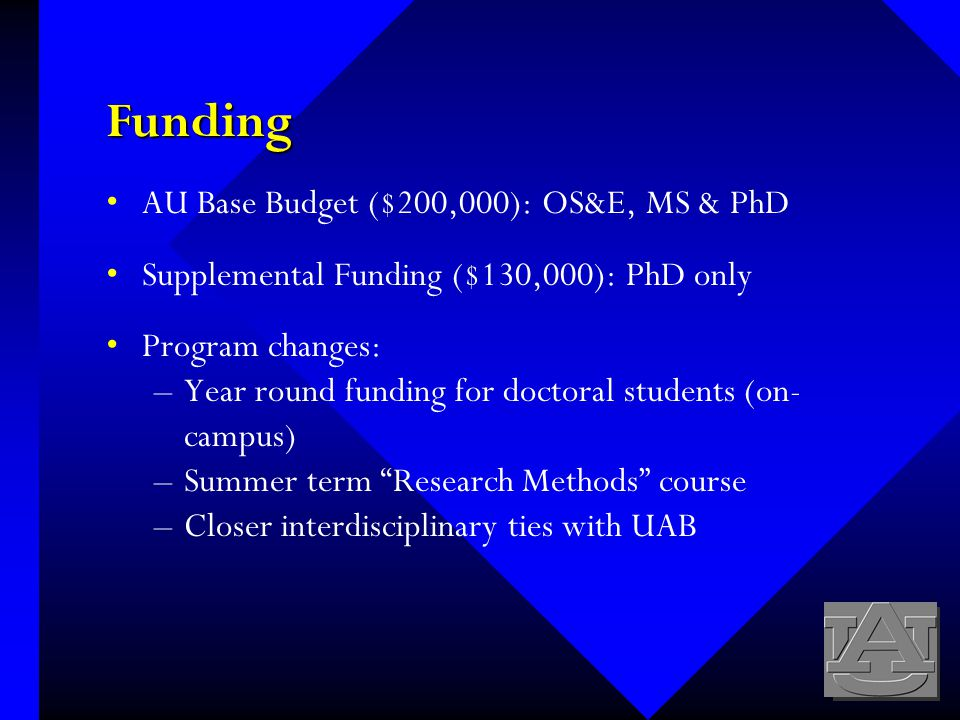 Funding AU Base Budget ($200,000): OS&E, MS & PhD Supplemental Funding ($130,000): PhD only Program changes: –Year round funding for doctoral students (on- campus) –Summer term Research Methods course –Closer interdisciplinary ties with UAB
