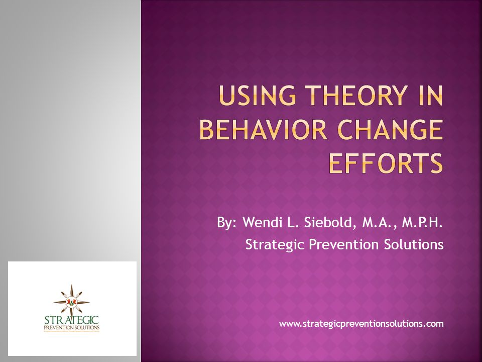  Behavior is determined by a person s intention to perform that behavior  Intention is determined by two major factors: the person s attitude toward the behavior and the influence of the person s social environment or subjective norm  The theory of planned behavior adds the concept of perceived control over the opportunities, resources, and skills necessary to perform a behavior
