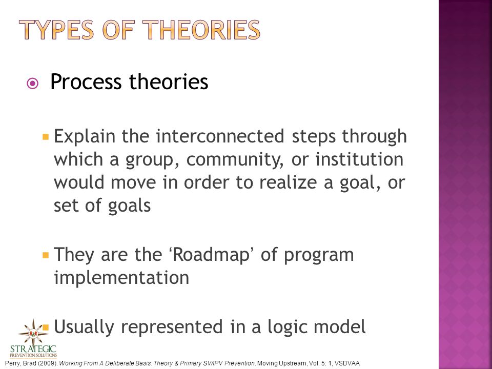  Process theories  Explain the interconnected steps through which a group, community, or institution would move in order to realize a goal, or set of goals  They are the 'Roadmap' of program implementation  Usually represented in a logic model Perry, Brad (2009).