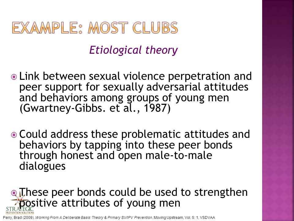 Etiological theory  Link between sexual violence perpetration and peer support for sexually adversarial attitudes and behaviors among groups of young men (Gwartney-Gibbs.
