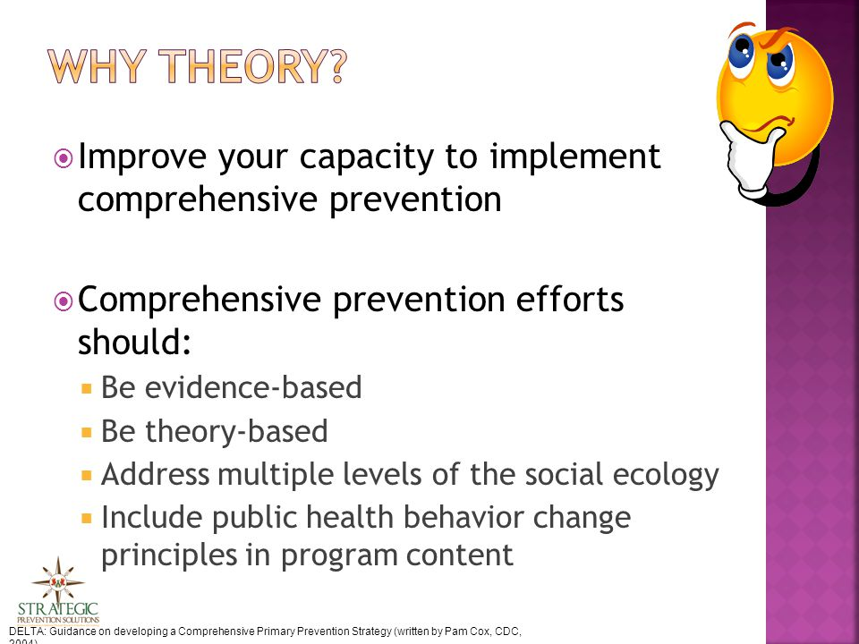 Improve your capacity to implement comprehensive prevention  Comprehensive prevention efforts should:  Be evidence-based  Be theory-based  Address multiple levels of the social ecology  Include public health behavior change principles in program content DELTA: Guidance on developing a Comprehensive Primary Prevention Strategy (written by Pam Cox, CDC, 2004)