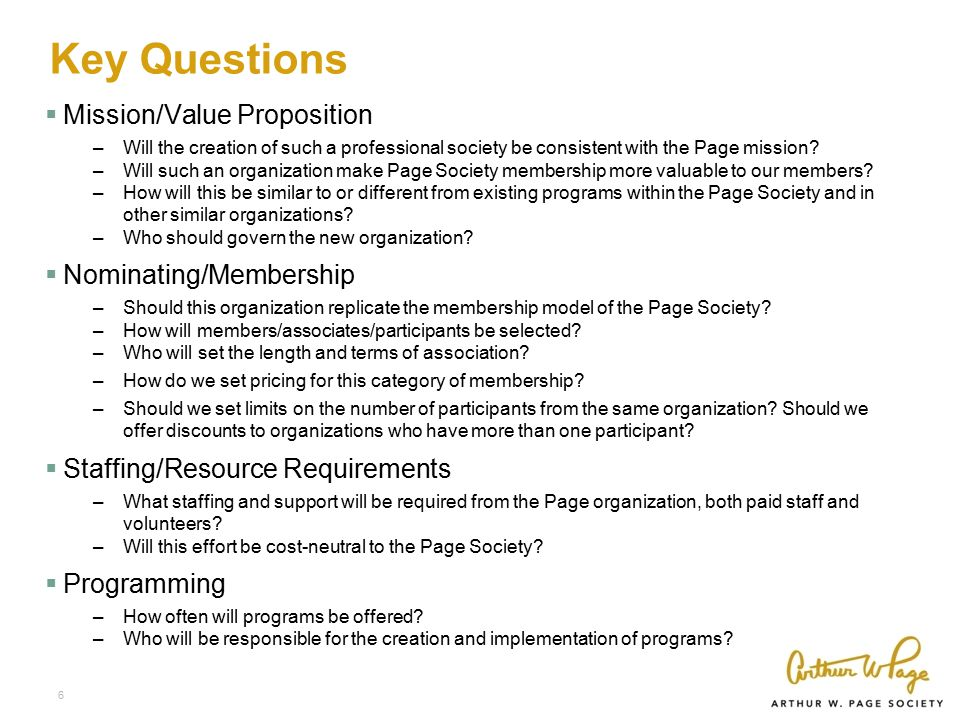 Key Questions  Mission/Value Proposition –Will the creation of such a professional society be consistent with the Page mission.