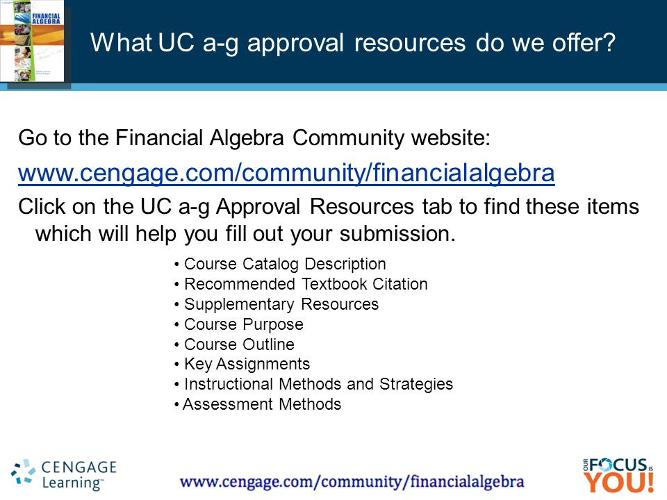 Course Technology ▪ Delmar ▪ South-Western What UC a-g approval resources do we offer.