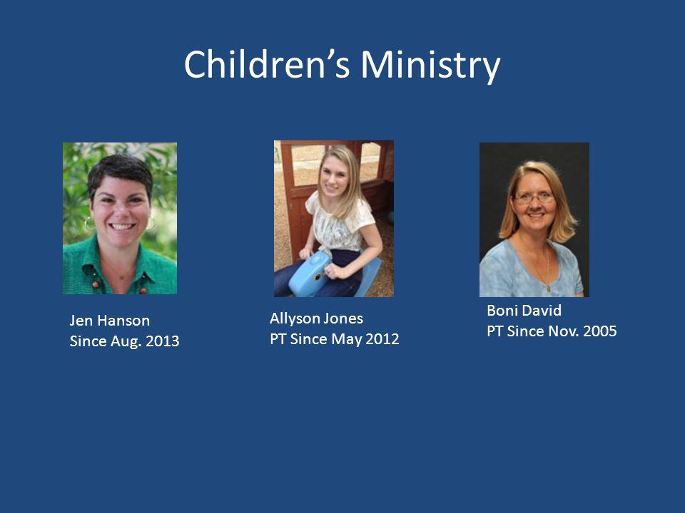 Children's Ministry Jen Hanson Since Aug.