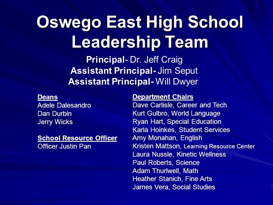 Oswego East High School Leadership Team Principal- Dr. Jeff Craig Assistant Principal- Jim Seput Assistant Principal- Will Dwyer Deans Adele Dalesandr