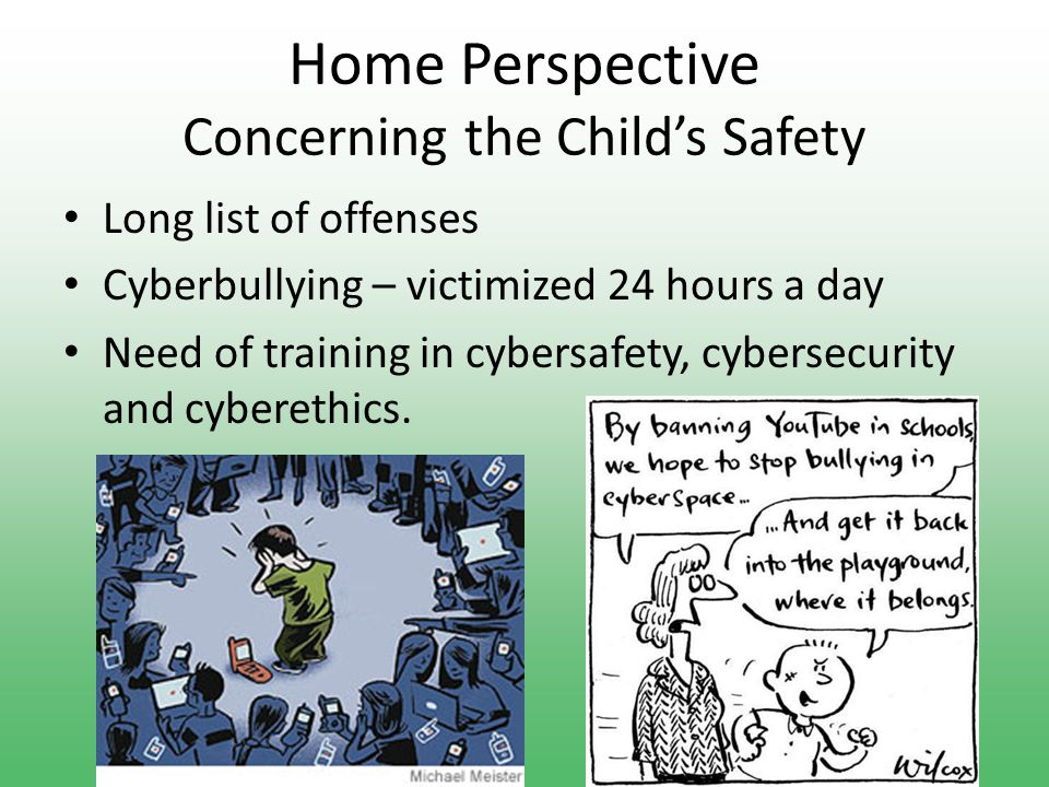 Home Perspective Concerning the Child's Brain Lack of real communication skills Damaging to creativity, attention and motivation Violent and aggressive behavior Desensitize children's ability to see the difference between right and wrong Desensitize children's ability to see the difference between right and wrong