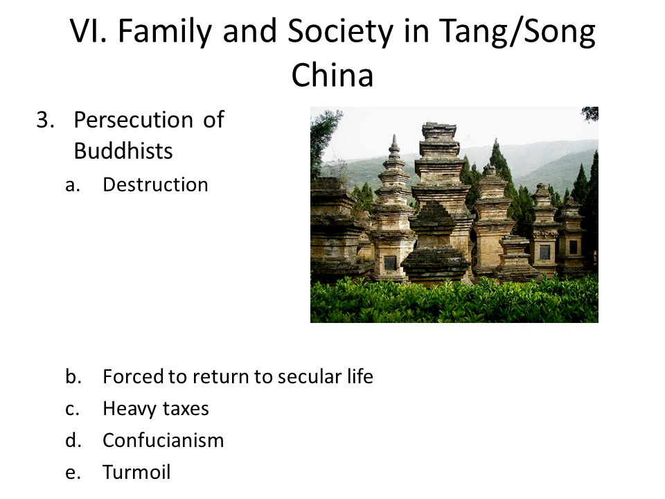 VI. Family and Society in Tang/Song China 3.Persecution of Buddhists a.Destruction b.Forced to return to secular life c.Heavy taxes d.Confucianism e.T