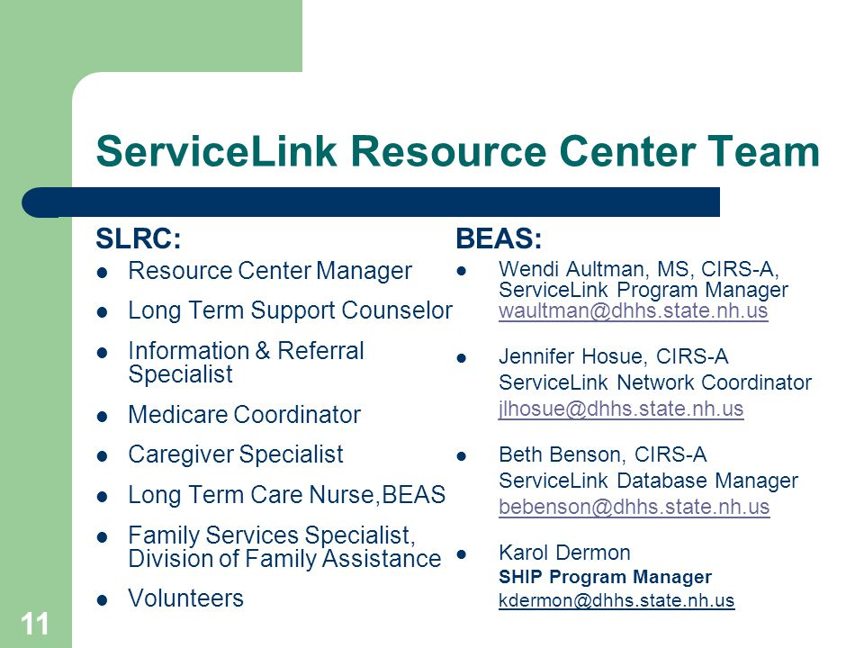 11 ServiceLink Resource Center Team SLRC: Resource Center Manager Long Term Support Counselor Information & Referral Specialist Medicare Coordinator C
