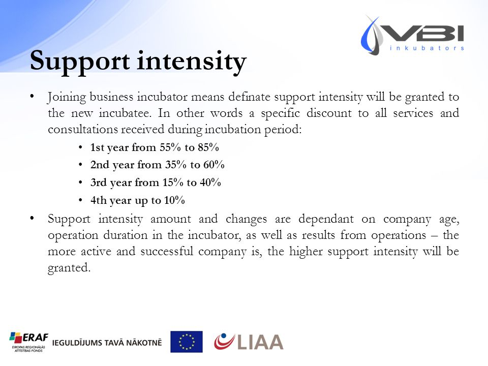 Support intensity Joining business incubator means definate support intensity will be granted to the new incubatee.