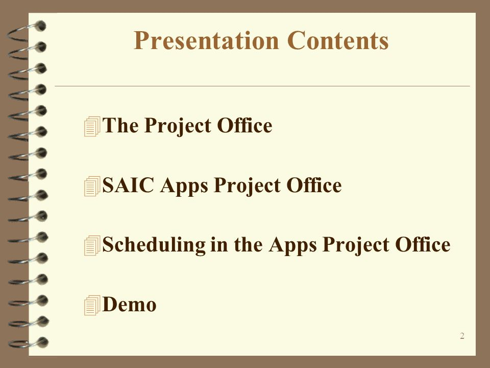 13 SAIC IT Project Office Responsibilities 4Software and Project Management Control - The Project Office provides and maintains Project Office database, Project Metrics database, Stop Light report, the Business Unit Portfolio and project scheduling support.